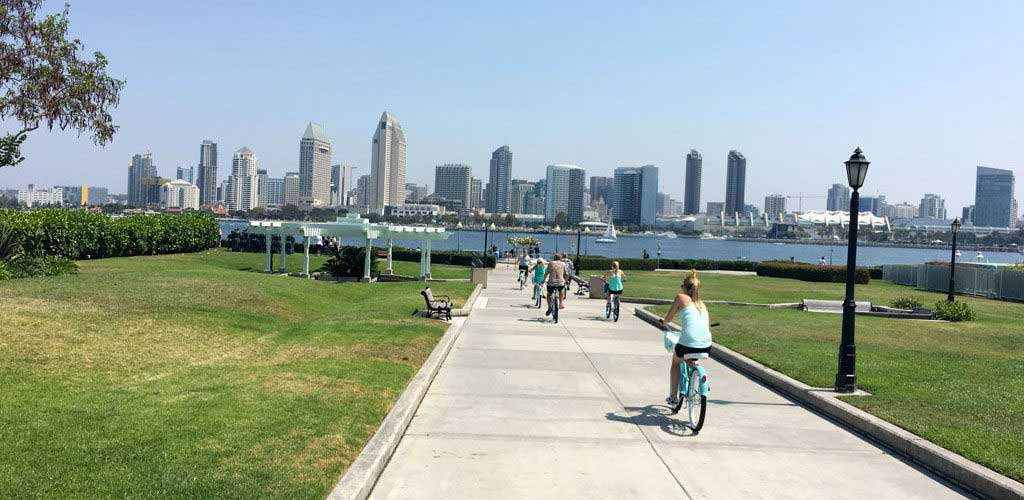Riding back to the Ferry - San Diego Scenic Cycle Tours