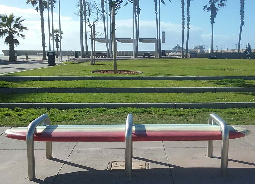 IB surfboard bench - San Diego Scenic Cycle Tours