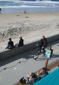 PB boardwalk coffee stop - San Diego Scenic Cycle Tours